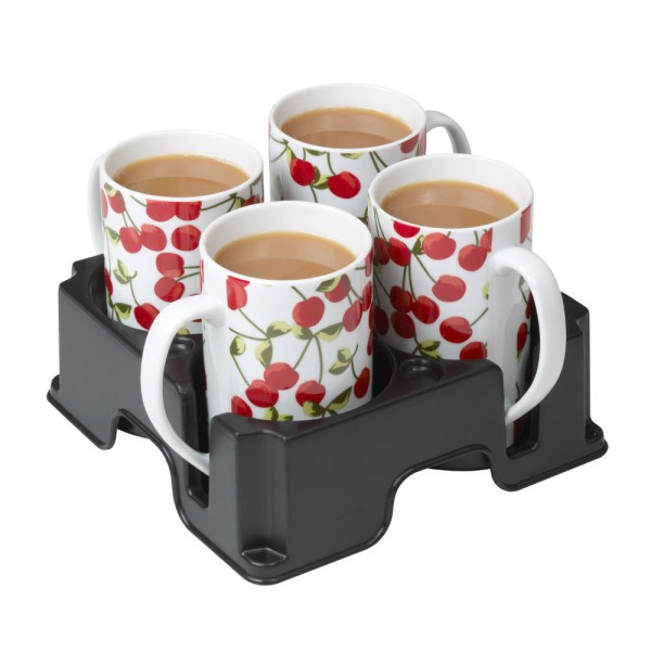 Black Muggi mug and cup holder holding four white mugs