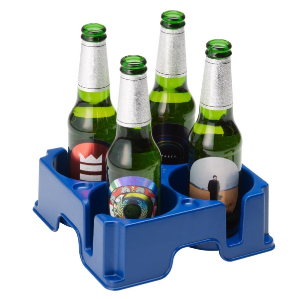 Blue Muggi mug and cup holder holding four beer bottles