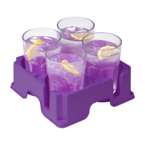 Purple Muggi mug and cup holder holding four glasses