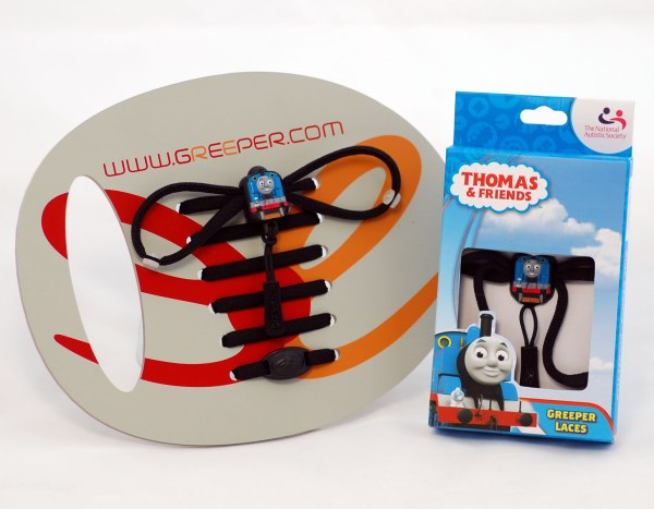 Thomas the Tank Engine shoe laces in their packaging