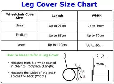 Size chart for Seenin fleece wheelchair leg cover