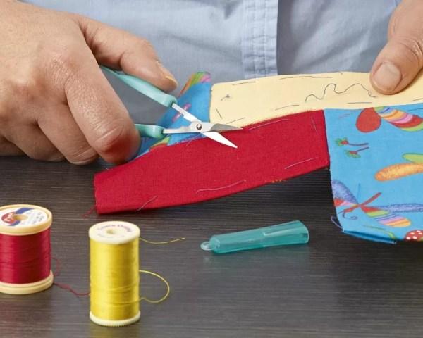 Peta Mini Easi-Grip scissors cutting fabric