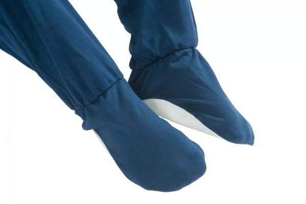 Built-in feet on Seenin children's turquoise and navy zip sleepsuit