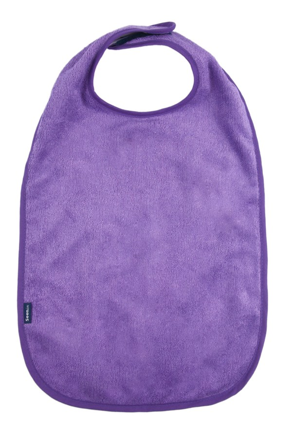 Seenin bamboo feeding apron for disabled adults in purple