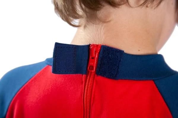 Hidden zip fastening on the back of Seenin children's red and navy sleepsuit