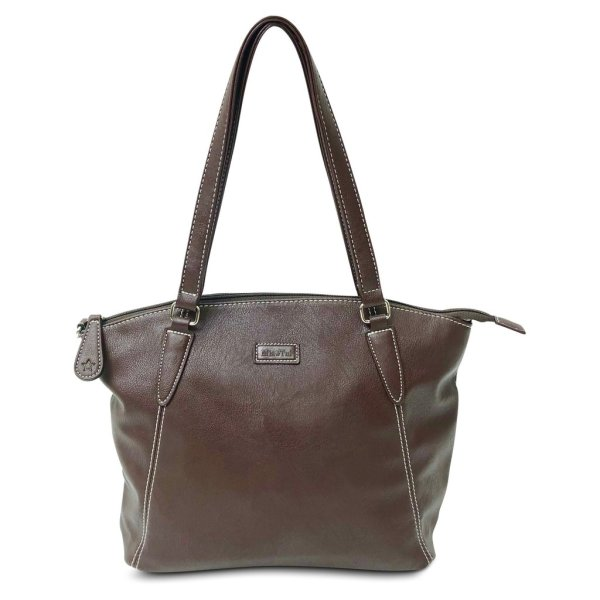Image is a photograph of the Samantha Renke bag in a rich chocolate colour, on a white background