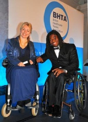 Claire from Trabasack with Ade Adepitan