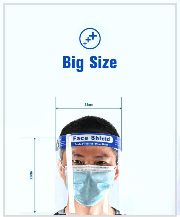 """Image shows a photograph of a man at the bottom of the image, facing the camera wearing a transparent, plastic face mask. Around the mask is illustrated the dimensions of the face shield, with text which reads: """"Big size. Front width 33 cm. Lengeth 22cm"""""""