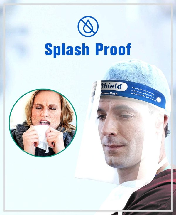 """Image is a collage of photographs - the first is a circular image of a lady sneezing into a tissue, with bodily spray expulsion from the sneeze. Next to this image is a photograph of a man looking down and away from the camera, wearing a PPE face shield. Text reads """"Splash proof"""""""