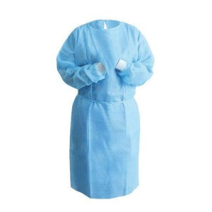 Image is a photograph of a light blue, long length isolation gown with long sleeves and white elasticated cuffs