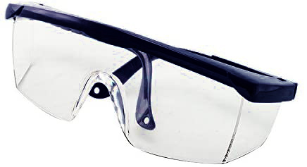 Image is a photograph of a black upper-framed pair of safety glasses folded neatly