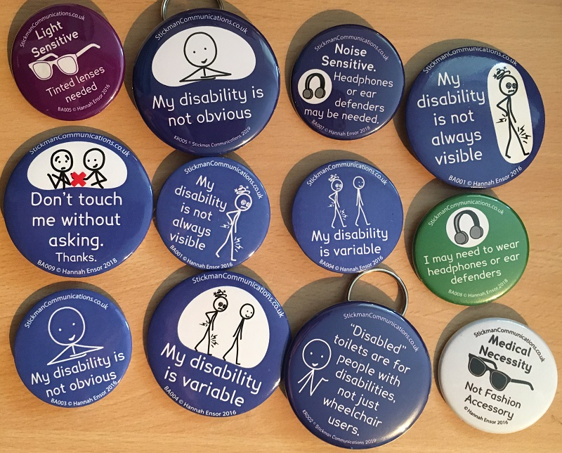 A collection of badges from Stickman Communications