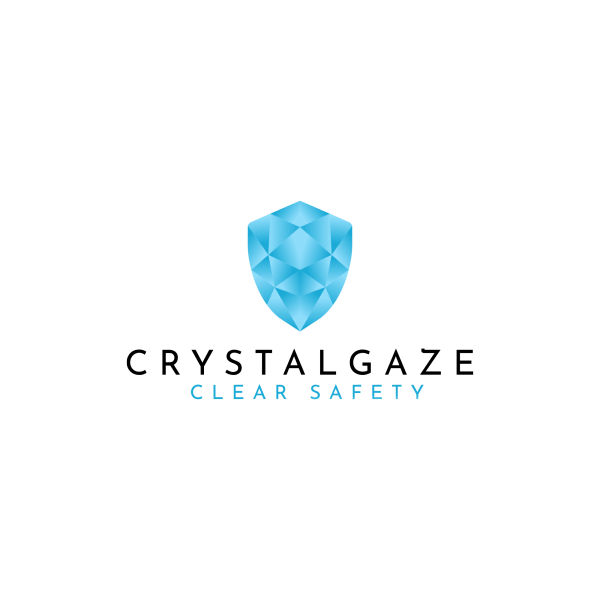 "Image is the logo for the Crystal Gaze lightweight, elegant safety visor. Central is an image of a blue shield designed to look as if made of crystal, and beneath text reads: ""Crystal Gaze Clear Safety"""