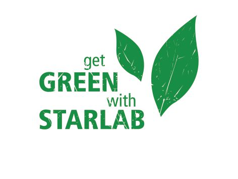 """Image is an illustration of two green leaves, with green text which reads : """"get GREEN with STARLAB"""""""