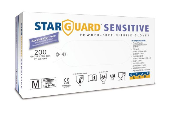 Image is a photograph if the packaging for the Starguard Nitrile Gloves for Sensitive Skin