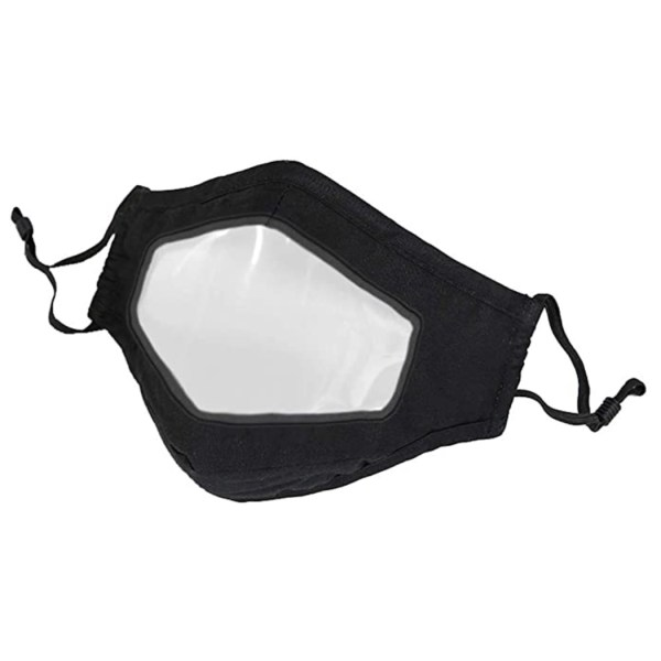 Image is a photograph of a black fabric face mask with a transparent, plastic panel over the mouth area suitable for lip reading