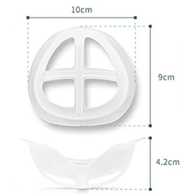 image illustrates the dimensions of the mask insert - 10cm across, 9cm down in length, and width from the face is 4.2cm