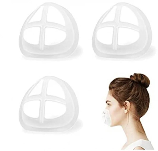 Image shows three mask inserts with a photograph of a lady with brown hair in a bun in the bottom right corner, wearing the mask inset over her mouth and nose.