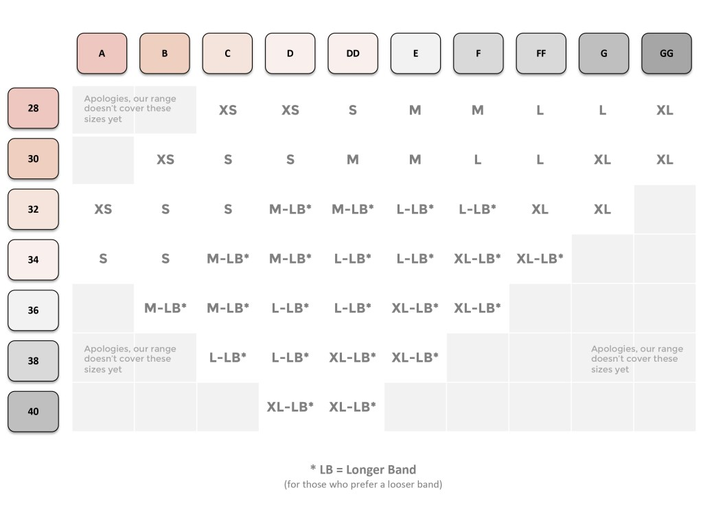ing chart for the Elba magnetic front fastening bra. For those with visual impairments, please refer to the text below this image.