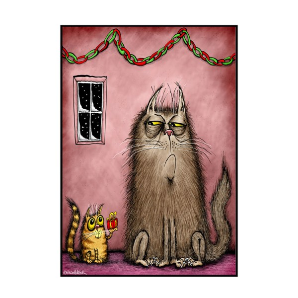 Image is an illustrated Christmas card showing a small, innocent-looking cat handing upwards a beautifully wrapped gift to a large, grumpy cat with a questioning expression on their face.
