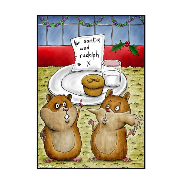 Image is an illustrated Christmas card showing two hamsters stood in front of a plate of Christmas eve treats for Santa and Rudolph, one of the hamster's cheeks are stretched out to show that he has put the carrot for Rudolph in his mouth.