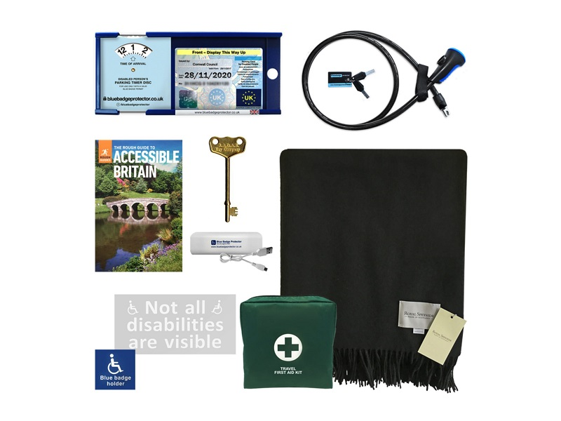 Disabled driver's accessory kit with Blue Badge Protector, a blanket, first aid kit, radar key, accessible travel guide and disabled parking car sticker