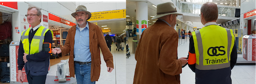Left image – Tom being guided by assistant using ramble tag facing camera. Right image Tom being guided by assistant using ramble tag from behind.