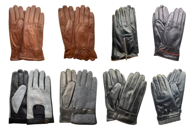 Image is a photograph showing the 8 different designs of Hands of Warriors leather wheelchair gloves available for sale at Disability Horizons