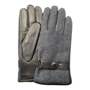 Image is a photograph of a pair of Hands of Warriors leather gloves with a herringbone tweed backing and wrist strap popper detail