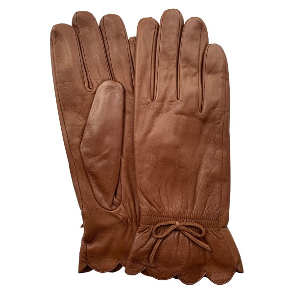 Image is a photograph of a pair of tan leather ladies wheelchair gloves with bow wrist detail