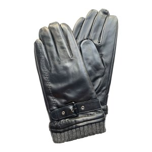 Image is a photograph of a pair black hair sheep leather wheelchair gloves with a wool trim and buckle detail