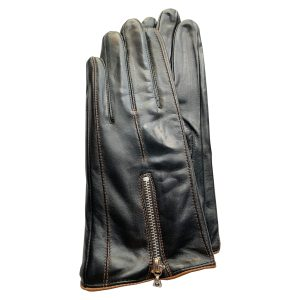 Image is a photograph of the Zipped style of ladies leather wheelchair gloves with brown piping by Hands of Warriors