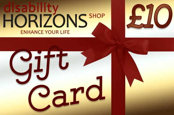 Image is a virtual gift card worth £10 with a gold background, red bow and cursive text