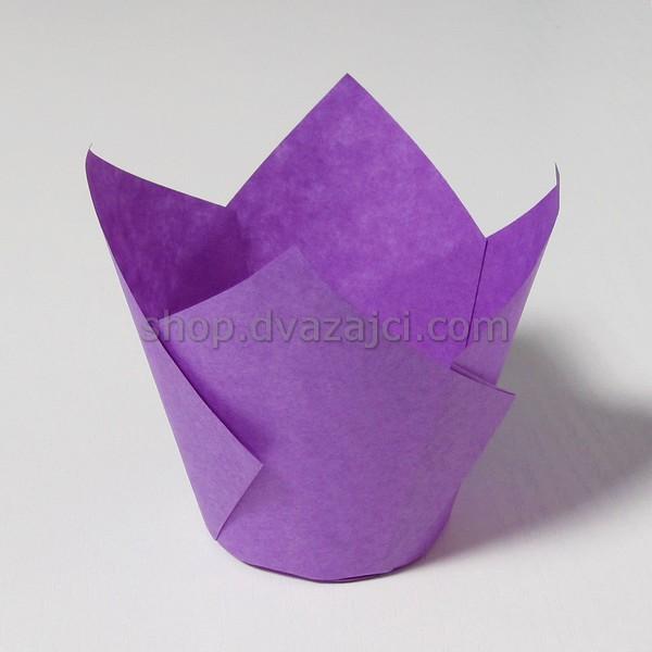 Бумажный стаканчик для кекса Тюльпан 50 фиолетовый 25 штук