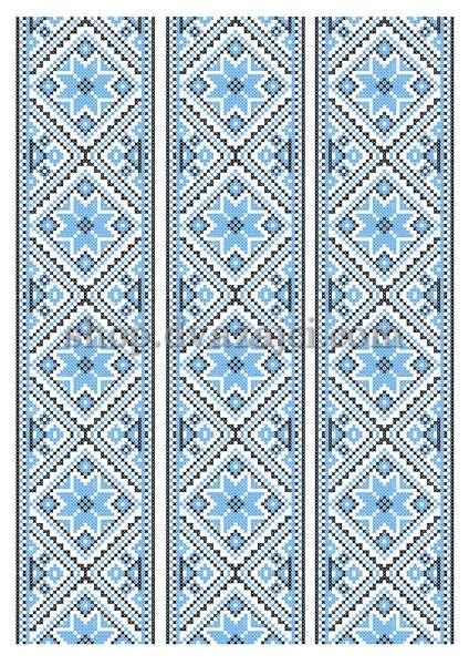Вышиванка синяя вафельная картинка А4