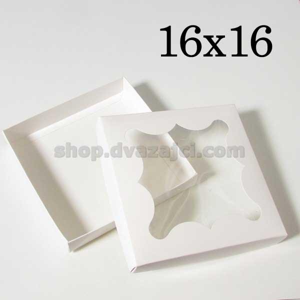 Коробка для пряников 16х16х3 см белая