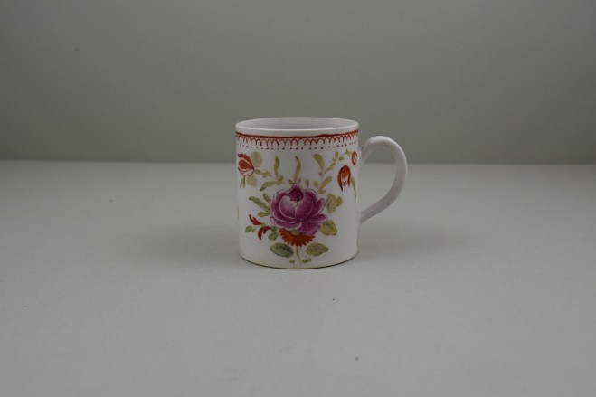 Bow Porcelain Hand Painted Pink Rose and Flower Sprays Coffee Can, C1760 (1)