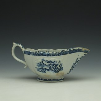 Derby Fisherman and Landscape Pattern Sauceboat c1765 (4)