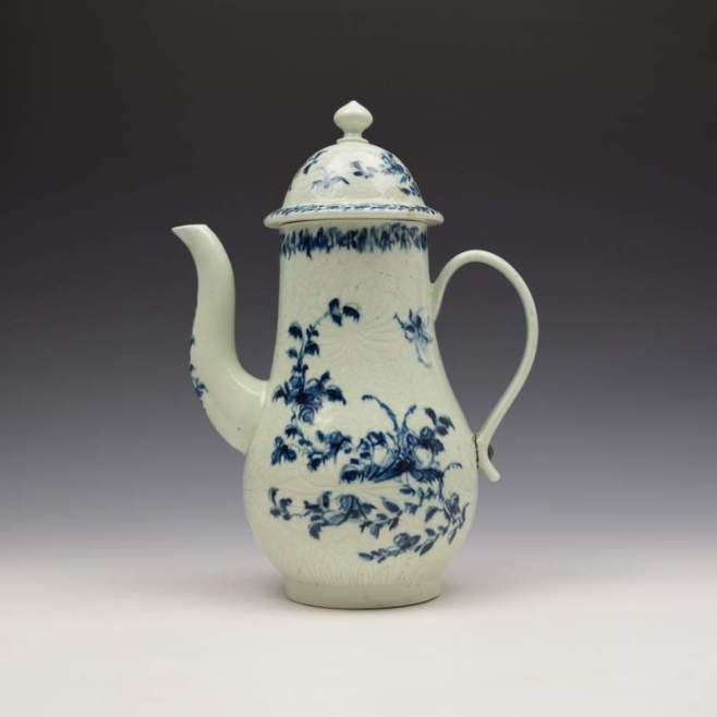 Liverpool Richard Chaffers Floral Mould Pattern Coffee Pot and Cover c1760 (1)