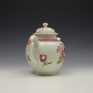 Lowestoft Floral Pattern Teapot and Matched Cover c1780 (5)