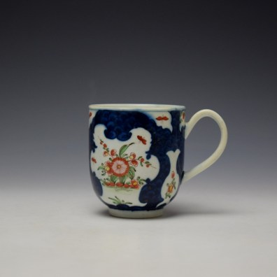 Worcester Blue Scale Floral Pattern Chocolate Cup and Saucer c1770 (2)