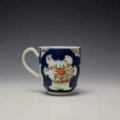 Worcester Blue Scale Floral Pattern Chocolate Cup and Saucer c1770 (4)