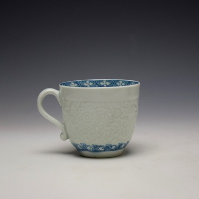 Worcester Chrysanthemum Moulded Coffee Cup and Saucer c1758-60 (3)