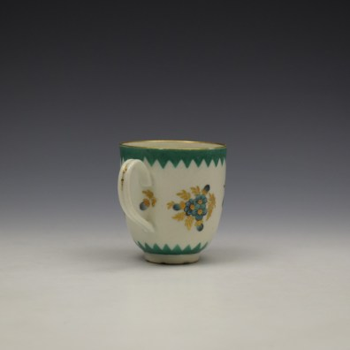 Worcester Green Floral Pattern Coffee Cup c1770 (4)