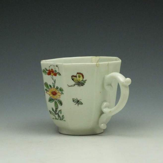 Worcester Polychrome Long Eliza Pattern Octagonal Coffee Cup c1752-53 (5)