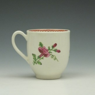 Worcester Porcelain Rose Pattern Coffee Cup c1770-85 (3)