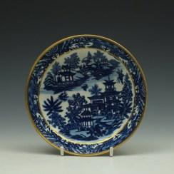 Worcester Bandstand Pattern Teabowl and Saucer c1780-90 (9)
