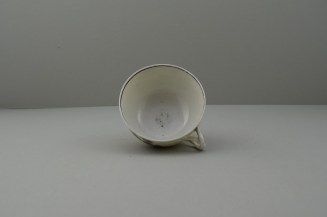 Worcester Porcelain Black Printed Milkmaids Pattern Trio With Uncommon Twist Handle. 16