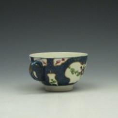 Worcester Blue Scale Floral Pattern Teacup c1760-70 (4)