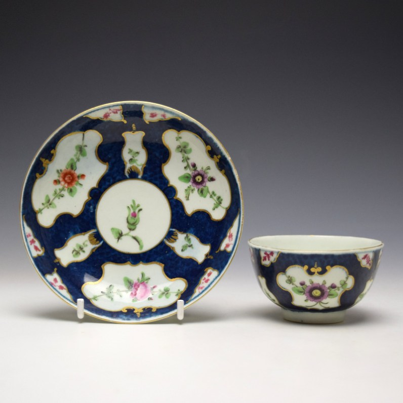 Worcester Blue Scale Panelled Floral Pattern Teabowl and Saucer c1770-75 (1)